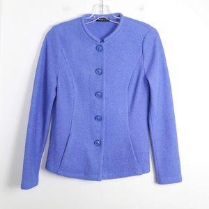 NWOT Frank Walder azure blue blazer knit jacket M